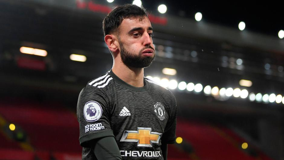 Manchester United's Bruno Fernandes reacts to a missed chance during the Premier League match at Anfield last Sunday