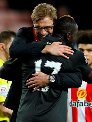 Jurgen Klopp celebrates Liverpool's 1-0 win over Sunderland with Mamadou Sakho after last night's game at the Stadium of Light. Action Images via Reuters / Lee Smith Livepic