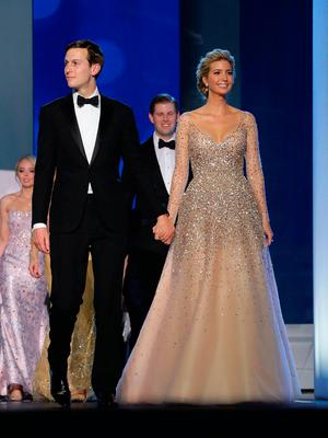 Ivanka Trump (R) and her husband Jared Kushner arrive at the Freedom Ball at the Washington Convention Center January 20, 2017 in Washington, DC. The ball is part of the celebrations following U.S. President Donald Trump's inauguration.  (Photo by Chip Somodevilla/Getty Images)