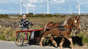 Rural life: Billy Collins, from Wexford town, rides his Sulky past a field in Kilmore, Co Wexford. Photo: Niall Carson/PA Wire