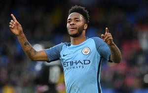 LONDON, ENGLAND - JANUARY 28:  Raheem Sterling of Manchester City celebrates after scoring his sides first goal during the Emirates FA Cup Fourth Round match between Crystal Palace and Manchester City at Selhurst Park on January 28, 2017 in London, England.  (Photo by Mike Hewitt/Getty Images)