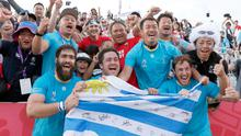 Uruguay's players celebrate with the crowd after winning over Fiji during the Rugby World Cup Pool D match in Kamaishi, northeastern Japan, Wednesday, Sept. 25, 2019. (Naoya Osato/Kyodo News via AP)