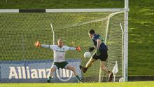 Kevin McLoughlin of Mayo scores the winning goal past Meath goalkeeper Marcus Brennan during the Allianz Football League Division 1 match. Photo by Seb Daly/Sportsfile