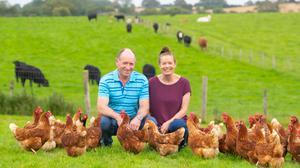 Enterprise: John Murphy and Peggy Gaffney have diversified into egg production at their farm near Campile, Co Wexford. Photo:  Patrick Browne