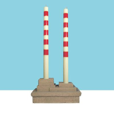Pigeon House candles, €12.50; concrete base, €37.50 by Neill Treacy; available at pigeon-house.com; designist.ie; scoutdublin.com.