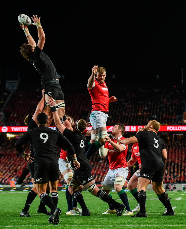 Sam Whitelock of New Zealand takes possession in a lineout ahead of George Kruis of the British & Irish Lions. Photo: Sportsfile