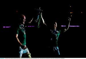15 March 2014; Paul O'Connell, left, and Brian O'Driscoll, Ireland, celebrate with the trophy. RBS Six Nations Rugby Championship 2014, France v Ireland. Stade De France, Saint Denis, Paris, France. Picture credit: Stephen McCarthy / SPORTSFILE