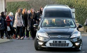 Ashling's remains are taken from the church after the funeral mass.  Picture: Gerry Mooney