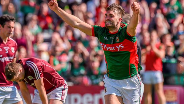 14 June 2015; Aidan O'Shea, Mayo, celebrates after scoring his side's first goal. Connacht GAA Football Senior Championship Semi-Final, Galway v Mayo. Pearse Stadium, Galway. Picture credit: David Maher / SPORTSFILE