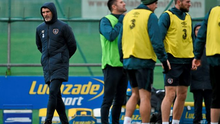 Republic of Ireland assistant manager Roy Keane during the squad training session in Malahide this morning.