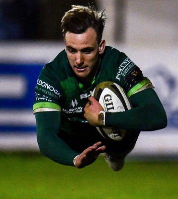Connacht's John Porch dives over to score his side's third try. Photo: Sportsfile