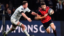Munster's Irish scrum half Conor Murray (R) tries to break away from Racing's Irish lock Donnacha Ryan (L) during the European Champions Cup rugby union match between Racing 92 and Munster on January 14, 2018 at the U Arena in Nanterre, near Paris. / AFP PHOTO / CHRISTOPHE SIMON (Photo credit should read CHRISTOPHE SIMON/AFP/Getty Images)