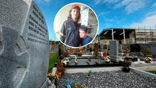 The final resting place of Eoghan and Ruairi (inset), with the community centre where their father, Sanjeev Chada, embezzled €56,000, on the right