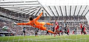 Victor Anichebe scores West Brom's goal past Newcastle goalkeeper Tim Krul