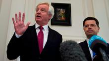Brexit Secretary David Davis (left) during a press conference at Stormont House in Belfast. Photo: Mark Marlow/PA Wire