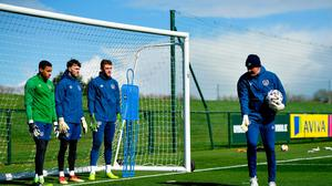 Goalkeeping coach Dean Kiely with goalkeepers, from left, Gavin Bazunu, Kieran OHara and Mark Travers during a Republic of Ireland training session at the FAI National Training Centre in Abbotstown, Dublin. Photo by Seb Daly/Sportsfile