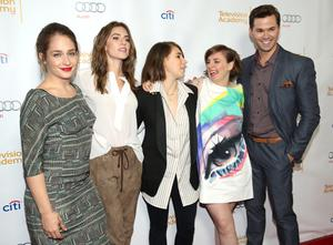 "From left, Jemima Kirke, Allison Williams, Zosia Mamet, Lena Dunham, and Andrew Rannells at The Television Academy presents An Evening with ""Girls"". Photo: Matt Sayles/Invision/AP"