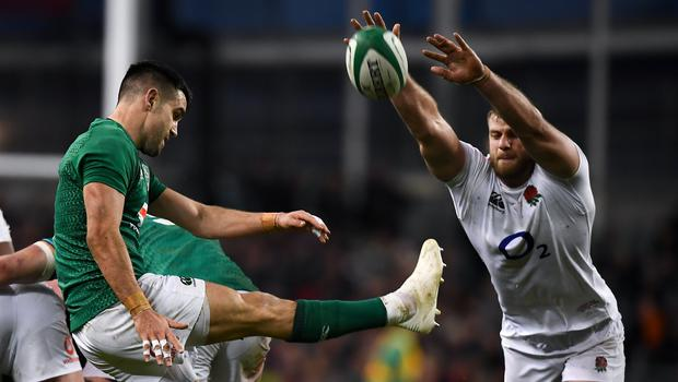 Conor Murray's box-kick has been a regular tactic for Ireland over the last number of years. Photo by David Fitzgerald/Sportsfile