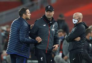 Frank Lampard and Jurgen Klopp at Anfield this week after their spat