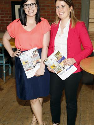 no fee if house 2016 mentioned in caption Jenny Adamson and Jen Fitzsimons at the launch of house 2016  at The Chocolate Factory. The new interiors event launched by INM will run from 20th - 22nd May 2016 at the RDS Simmonscourt, and will showcase the very best of all things home and interiors related-photo Kieran Harnett