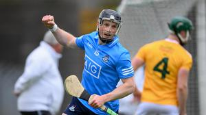 Cian O'Sullivan of Dublin celebrates after scoring his side's first goal during the Leinster GAA Hurling Senior Championship Quarter-Final match against Antrim. Photo by Stephen McCarthy/Sportsfile