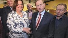 An Taoiseach, Enda Kenny, TD, shakes hands with Gabrielle McFadden, Fine Gael, at the Longford, Westmeath by election in St Dominicks GAA Centre, Keenagh, co. Longford. Picture credit; Damien Eagers 24/5/2014