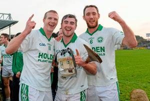 Ballyhale Shamrock's players, from left, Henry Shefflin, Alan Cuddihy and Michael Fennelly celebrate after their win in the Kilkenny Senior Hurling Championship Final between Clara v Ballyhale Shamrocks last year