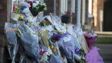 Tributes: Flowers at the house in Newcastle, Co Dublin, where Conor, Carla and Darragh McGinley were found dead last Friday. Photo: Colin Keegan, Collins