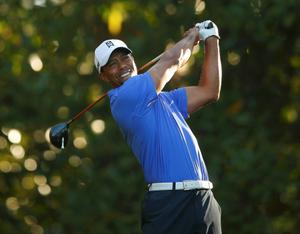 Tiger Woods during a practice round at Augusta. Pic: Reuters