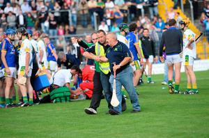 A fracas breaks out on the pitch at half-time in the Kerry Senior County Hurling Championship Final  www.dwalshphoto.com