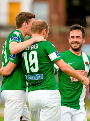 26 June 2015; Karl Sheppard, Cork City, centre, celebrates with Garry Buckley and Ross Gaynor after scoring his sides first goal. SSE Airtricity League Premier Division, Derry City v Cork City, Brandywell, Derry. Picture credit: Oliver McVeigh / SPORTSFILE
