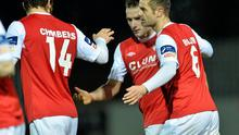 Christy Fagan, second from right, St Patrick's Athletic, celebrates after scoring his side's third goal with team-mates James Chambers, left and Greg Bolger.