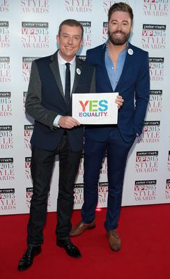 Alan Hughes and Karl Broderick tonight  on the Red Carpet at The Peter Mark VIP Style Awards 2015 at The Marker Hotel,Dublin. Pictures Brian McEvoy