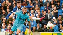 Aaron Connolly fires his second goal, and Brighton's third, past Tottenham defender Toby Alderweireld on Saturday. Photo: Toby Melville/Reuters