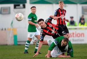 Roberto Lopes, Bohemians, in action against David Scully, Bray Wanderers (Cody Glenn / SPORTSFILE)