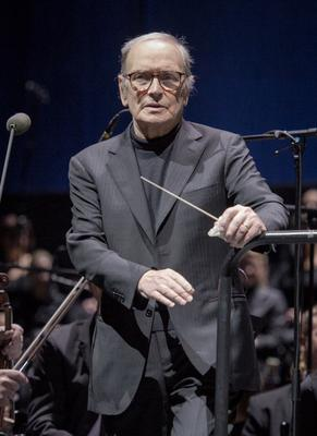Ennio Morricone performs at Palais Omnisports de Bercy on February 4, 2014 in Paris, France. (Photo by David Wolff - Patrick/Redferns via Getty Images)