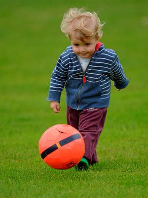 27 June 2015; 21 month old Thias Sharkey, from Ardee, and cousin of Louth footballer Ryan Burns, plays on the pitch at half-time. GAA Football All-Ireland Senior Championship, Round 1B, Louth v Leitrim. County Grounds, Drogheda, Co. Louth. Picture credit: Piaras Ó Mídheach / SPORTSFILE