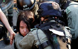 An anti-government protester is detained during a march in Tuen Mun, Hong Kong, China September 21, 2019. REUTERS/Jorge Silva