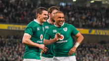 Jonathan Sexton, left, and Simon Zebo of Ireland celebrate after beating England last year to start the run