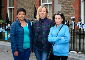 Delia Hanney from Broadstone, with Deirdre  Cadwell from Wexford and Jane Conlon, Clondalki , all of whom were residents in a Magdalene Laundry, pictured outside the former laundry on Dublin's Sean McDermott St .Picture Credit: Frank McGrath 30/8/18