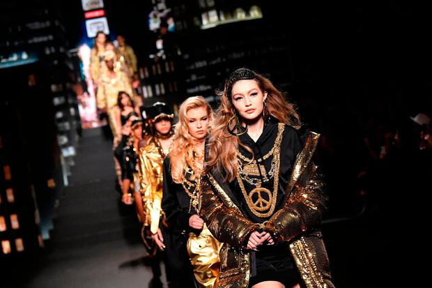Gigi Hadid walks the runway during the Moschino x H&M - Runway at Pier 36 on October 24, 2018 in New York City.  (Photo by Mike Coppola/Getty Images)