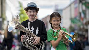 Beat on the street: Sam (10) and Rubie Sarsfield (9) of the Drogheda Brass Band