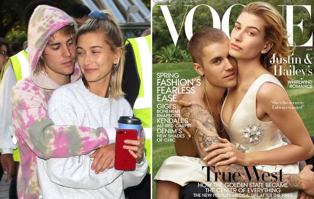 Justin Bieber and wife Hailey Baldwin, left, and the couple's US Vogue cover, right