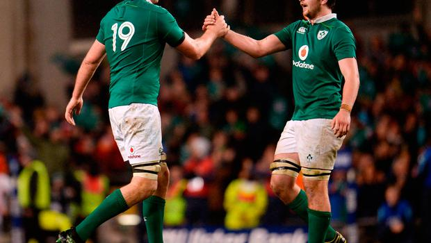 18 March 2017; Devin Toner and Iain Henderson of Ireland celebrate after the RBS Six Nations Rugby Championship match between Ireland and England at the Aviva Stadium in Lansdowne Road, Dublin. Photo by Sam Barnes/Sportsfile
