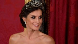 Spain's queen Letizia looks on during an official dinner at the Royal Palace in Madrid on February 27, 2019. (Photo by CURTO DE LA TORRE / AFP)