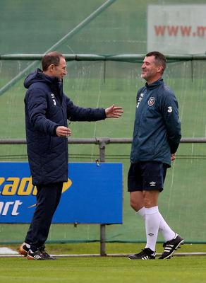 Ireland manager Martin O'Neill and assistant manager Roy Keane during training at Gannon Park, Malahide. Photo: PA