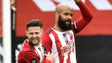 David McGoldrick celebrates his first league goal of the season (Rui Vieira/NMC Pool/PA).