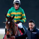 Defi Du Seuil ridden by Barry Geraghty after his victory in The Matchbook Clarence House Steeple Chase at Ascot Racecourse. Photo: Bradley Collyer/PA Wire