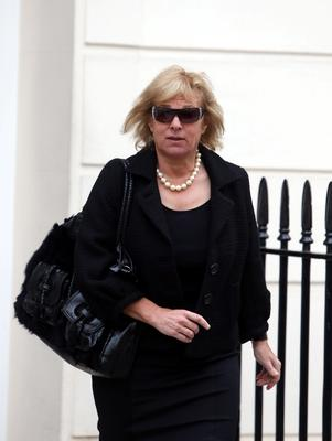 Carol Thatcher leaves the home of her late mother former Prime Minister Margaret Thatcher in Central London.