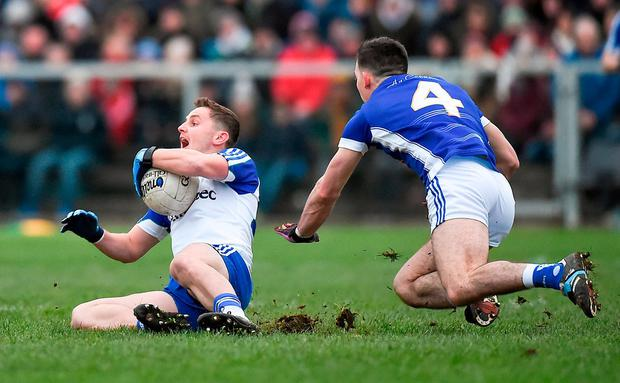 It was a tight affair when Monaghan and Cavan met in the league and their Ulster SFC clash this weekend is likely to be similarly hard-fought. Photo: Philip Fitzpatrick/Sportsfile